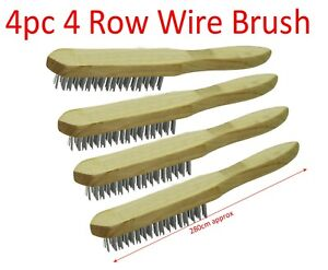 4pc 4 Row Steel Wire Brush Wooden Handle Zinc Plated