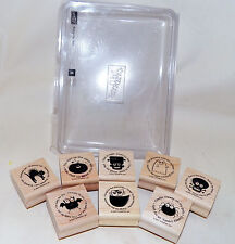 Retired 2007 Stampin Up Batty for You 8 Piece Set Wood Mounted Halloween Stamps