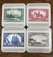 Canada Stamp Coasters Set Of 4 Canadian Historical Landmark Fathers Cork Back
