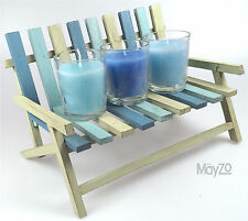 Three Blue Candle Glass Votive Green Wooden Settee/Bench Holder Tea Light Table