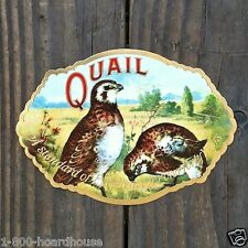 2 Vintage Original QUAIL EMBOSSED BIRD Label Gold Trim 1910s NOS Unused Stock