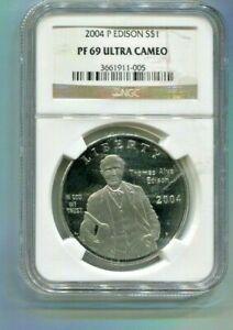 2004P US Thomas Alva Edison Commemorative Silver Dollar - NGC PF69 Ultra Cameo