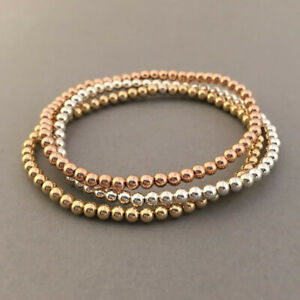 3 Pcs Lady 14k Gold Plated 4MM Beads Bead Stack Bracelets Women Bohemian Jewelry