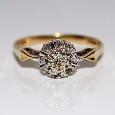 Sparkly DIAMOND Cluster 9ct yellow gold ring size Q ~ 8 1/4