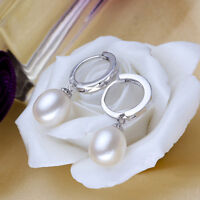 Freshwater Pearl Earrings 8-9mm Natural Pearl Jewelry 925 Sterling Silver Plate
