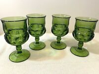 """Kings Crown Colony Thumbprint Green 4 Pressed Water Goblets Glasses 5 ¾"""" VTG"""