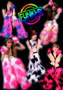 Funki-B Faux MANY COLOURS Plain fur fluffy cuff boot legwarmers neon CAMO plur