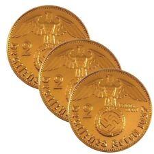 ++  3 x 2 Reichsmark 1937/1938/1939 mit HK - 24 Karat vergoldet  ++