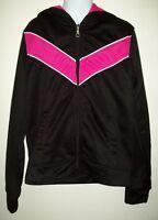 Danskin Now Girls Athletic Jacket Size L 10-12 Pink Stripe Black Hooded Zip Up