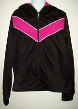 danskin now girls athletic apparel jacket size l 10 12 pink black hooded zip up
