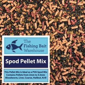 Spod Pellet Mix 1kg, 5kg - with PVA Bags - Fishing Bait - Bloodworm, Krill, Carp
