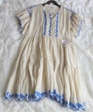 NWT! $168 Free People M Floral Embroidered Swing Dress Button Henley Pockets