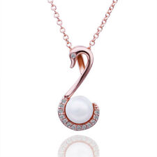 18k 18CT Rose Gold Filled GF Swan Pearl Crystal Pendant Necklace N706