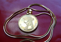 """Egyptian Cleopatra Africa Coin Pendant on a 24"""" 18k Gold Filled Snake Chain"""
