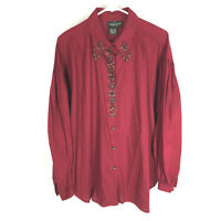 VINTAGE CAROLE LITTLE SPORT Red Shirt Size 16 Tassles Design Western Long Sleeve