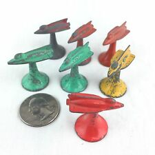 Rocket Jet Space Ship 7 Vintage Game Piece Lot Painted Metal Conflict 1960s