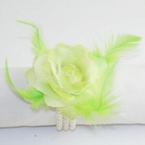 Wedding / Prom Wrist Green Flower & Feather Corsage on Pearl Bracelet