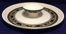 "Mikasa Intaglio Arabella Chip & Dip Platter Bowl 14 3/8"" CAC01 Blue Green Rim"