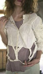 RARE Magnolia Pearl 2015 European Cotton Crinoline Blouse w Lace Ruffled Sleeves