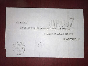 Canada 1863 Folded lettrer, Québec L.C. To Montreal C.E. 2x Split ring cancel