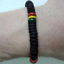 Wood Rasta Friendship Bracelet Wristband Bangle Mens Womens Boy Reggae Jewellery