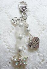MUM - I Love You White Bead Dragonfly - Bag Charm - Keyring Keeper