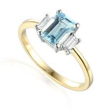 Aquamarine 9 Carat Yellow Gold Emerald Fine Rings