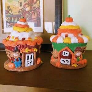 Illuminated Farmhouse Harvest Country Cupcake Houses   Candy Corn   Pumpkin