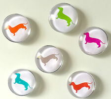 Dachshund Glass Fridge Magnets (Pack of 6) - Sausage Dog / Weiner Dog