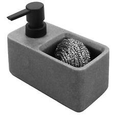 MyGift Dark Gray Faux Marble Resin Dish Soap Pump Dispenser with Sponge Holder