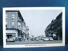 Postcard PA Somerset North Centre Avenue 1950's Street View Old Cars & Stores