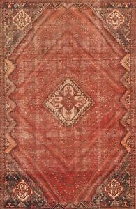 Antique Geometric Tribal Abadeh Oriental Area Rug Hand-knotted Wool Carpet 6x9