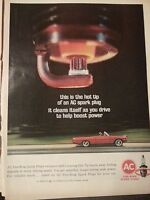 1964 AC Spark Plugs Hot Tip Boost Power Red Convertable Car Fire Ring Ad