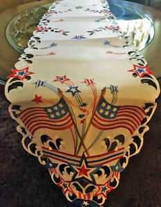 "Memorial Day Patriotic Decor Table Runner 68""x 13"" American Flag Stars Stripes"