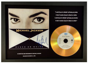 MICHAEL JACKSON, BLACK OR WHITE SIGNED GOLD CD DISC COLLECTABLE MEMORABILIA GIFT