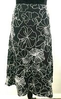 Jacqui-E Women's size 16 Black and White Floral A-Line Skirt