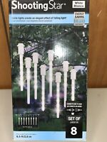 Gemmy Lightshow SHOOTING STAR Icy White LED Icicle Lights - Set of 8 - tested