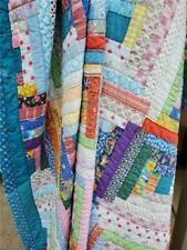 (288) Beautiful Colors! Vintage Log Cabin Quilt 1920s Hand Quilted