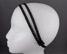 Black sparkly thin skinny braid braided double headband hair band stretch