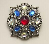 Vintage  Cabochon  Flower Glass brooch & Pendant gold tone metal