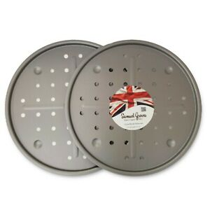 2x Pizza Crisper Perforated Pan Tray, 13 Inch (33cm), Non Stick, Made In England