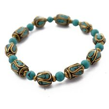 "Turquoise Brass Bracelet 7"" Tibetan Nepalese Tribal Ethnic Handmade Nepal BR890"