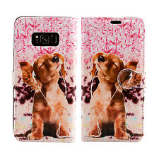 Tiger Lion Leather Wallet Book Case Cover for Sony Xperia E3 M M2 SP Z3 Compact Samsung Galaxy S8 Dog Listing to Music - Headphone Relax Entertain
