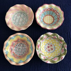 "Set of 4 MACKENZIE-CHILDS Ruffled Edge Ceramic 6"" FRUIT BOWLS Madison Iris Rose"