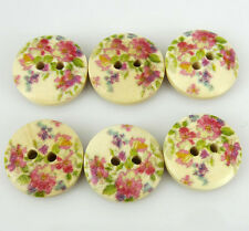 100pcs Flower Pattern Wood Painting Sewing Buttons For Scrapbooking 15mm buttons