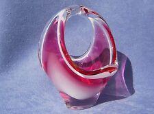 Flygsfors Vintage Crystal Art Glass Designed by Paul Kedelv Pink Signed 1963