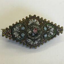 Precioso Broche de Latón Antiguo mosaico Floral Micro Gran Detalle 3cm X 1.5cm