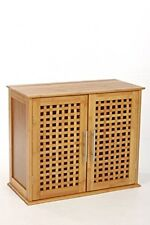 Bamboo Wall Cabinet 2 Doors Wall Mounted Bathroom Home Metal Furniture Storage