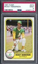 1981 Fleer Rickey Henderson #574 PSA 9 Oakland A's Athletics