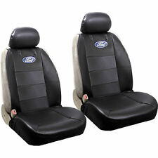 4pc Blue Oval Black Synthetic Leather Sideless Seat Covers Universal for Ford